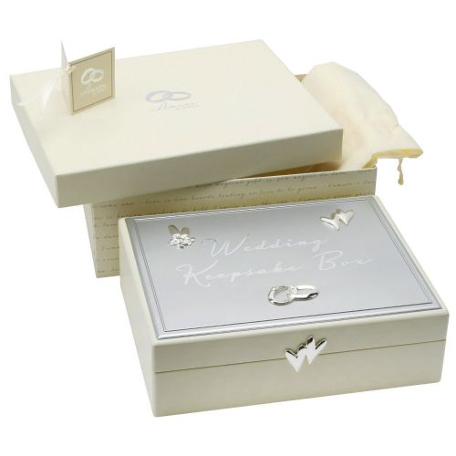 Cream Amore Wedding Keepsake Box With Silver and Crystal Detail - Wedding Gifts